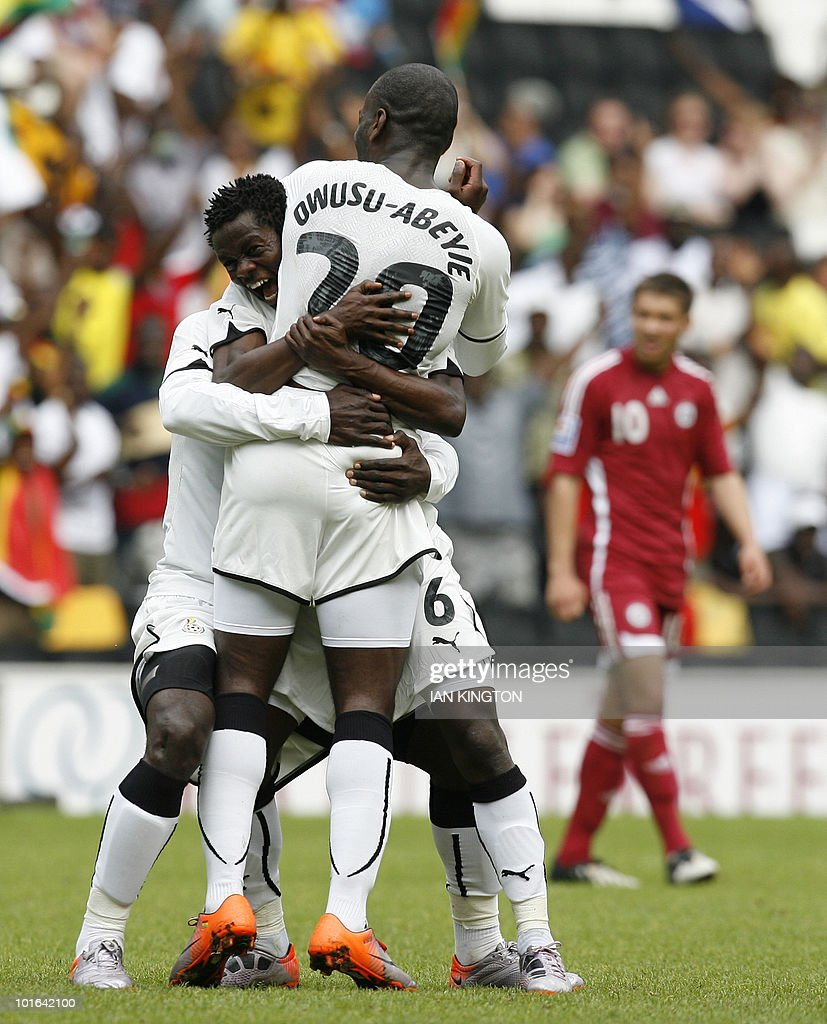 Ghana's Quincy Owusu Abeyie (front) celebrates scoring his goal against Latvia with Ghana's Anthony Annan during a pre World Cup 2010 friendly football match at the MK Stadium,on June 5, 2010, in Milton Keynes.