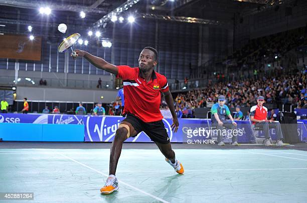 Ghana's Sam Daniel in action in a Badminton Men's singles match against Aatish Lubah of Mauritius at the Emirates Arena during the 2014 Commonwealth...