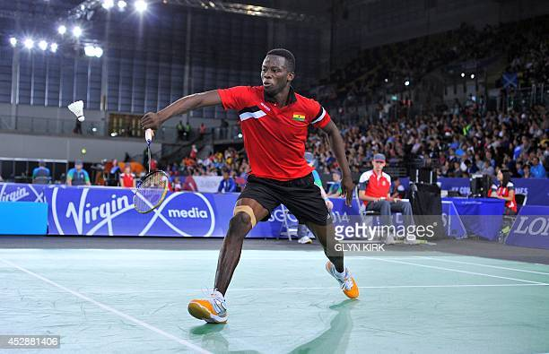 Ghana's Sam Daniel in his Badminton Men's Singles match against Aatish Lubah of Mauritius at the Emirates Arena during the 2014 Commonwealth Games in...
