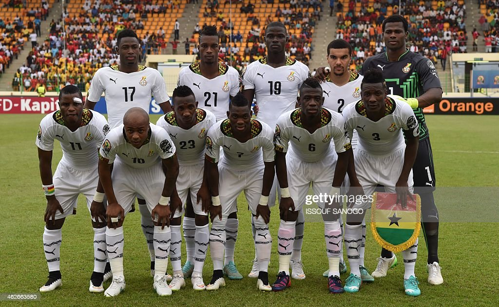 Ghana's team poses before the 2015 African Cup of Nations quarter final football match between Ivory Coast and Algeria in Malabo, on February 1, 2015.