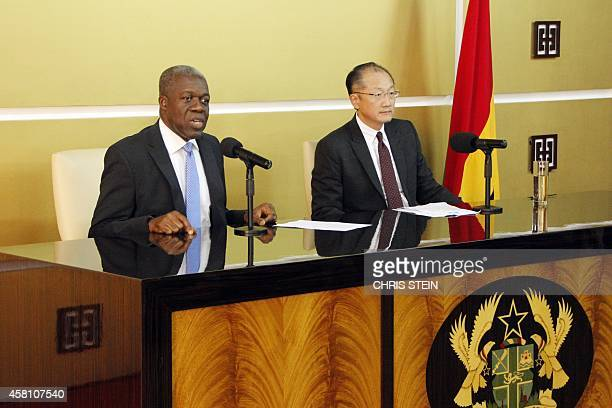 Ghana's Vice President Kwesi AmissahArthur addresses a press conference flanked by World Bank President Jim Yong Kim in Accra on October 30 2014...