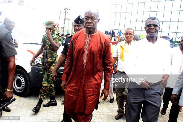 Ghana's VicePresident Kwesi Amissah Arthur arrives on the scene of a sixstorey shopping centre that collapsed on November 7 2012 in Accra killing at...