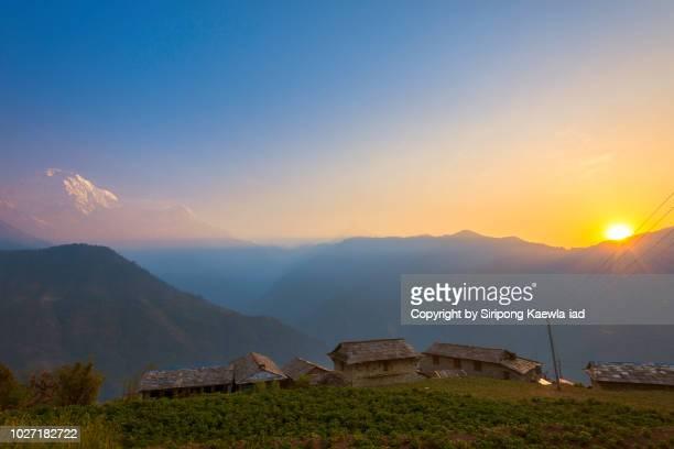 Ghandruk village at sunrise, Nepal.