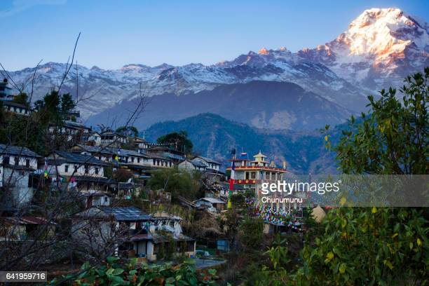 ghandruk village - annapurna conservation area stock photos and pictures