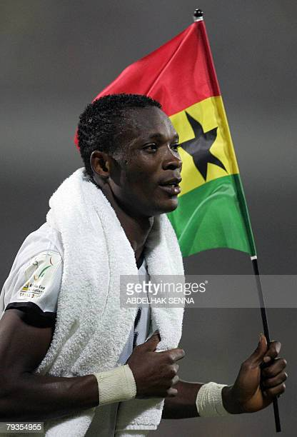 Ghanean player John Paintsil celebrates his team's 2-0 victory over Morroco 28 January 2008 in Accra after their 2008 African Nations Cup...