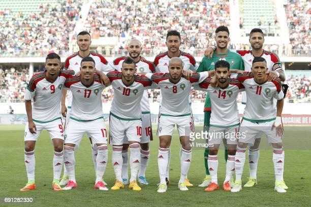 Ghanem Saiss of Morocco Nordin Amrabat of Morocco Aziz Bouhaddouz of Morocco goalkeeper Monir El Kajoui of Morocco Marouane Da Costa of Morocco...