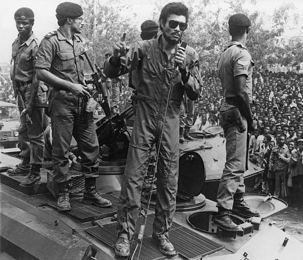 Ghanian air force officer Jerry John Rawlings Chairman of the Provisional National Defence Council addresses supporters of the AFRC 31st December...