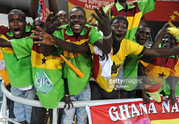 Ghanian fans celebrate their team's victory during the semifinal match between Ghana and Nigeria during the African Cup of Nations football...