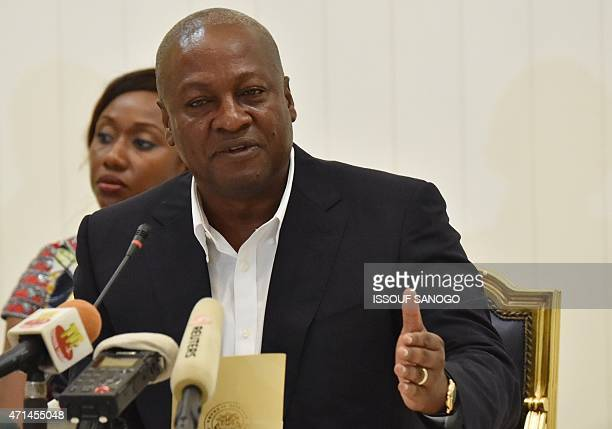 Ghanian President and ECOWAS Chairmen John Dramani Mahama speaks during a press conference after a meeting with Togo's President Faure Gnassingbe...