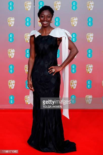 Ghanian-born British actress Rhoda Ofori-Attah poses on the red carpet upon arrival at the BAFTA British Academy Film Awards at the Royal Albert Hall...