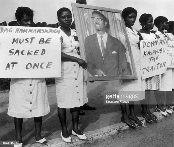 Ghanians demonstrating in Accra in February 1961 to protest against the assassination of Patrice LUMUMBA exPrime Minister of Congo