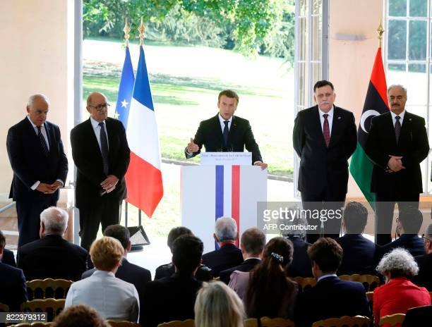 Ghassan Salame, Special Representative to the Secretary General of the United Nations for Libya, French Foreign Affairs Minister Jean-Yves Le Drian,...