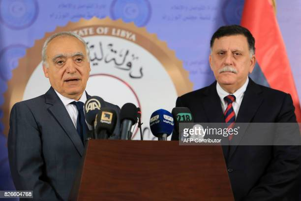 Ghassan Salame Special Representative to the Secretary General of the United Nations for Libya is greeted by Libya's UNbacked Prime Minister Fayez...