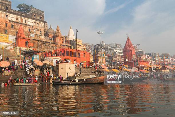 ghat of river ganges, varanasi-india - ganges river stock pictures, royalty-free photos & images