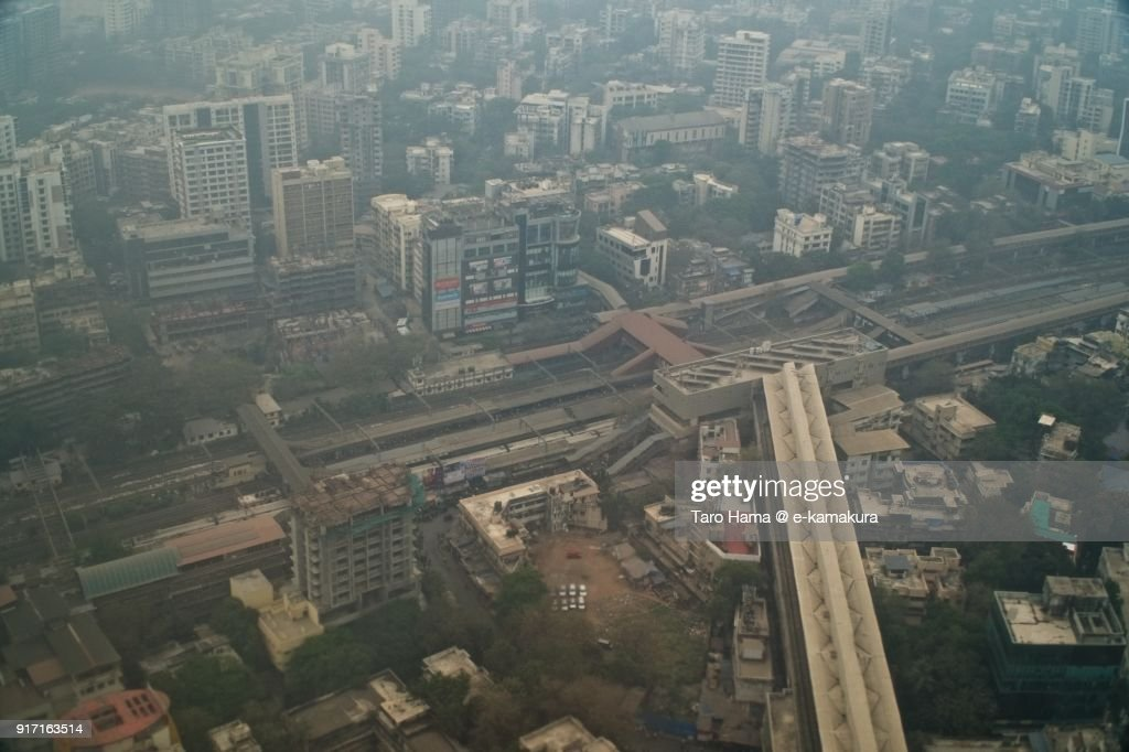 Ghatkopar station in Mumbai in Maharashtra in India aerial view from airplane : ストックフォト