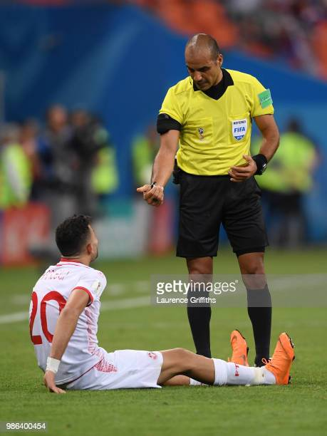 Ghaylen Chaaleli of Tunisia argues with Referee Nawaf Shukralla during the 2018 FIFA World Cup Russia group G match between Panama and Tunisia at...
