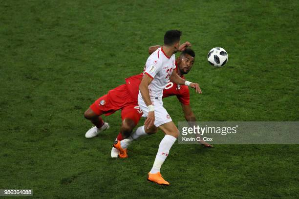 Ghaylen Chaaleli of Tunisia comptetes for the ball with Anibal Godoy of Panama during the 2018 FIFA World Cup Russia group G match between Panama and...