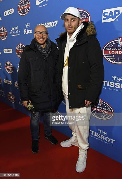 Ghemon and guest attend the Denver Nuggets v Indiana Pacers game during NBA Global Games London 2017 at The O2 Arena on January 12 2017 in London...