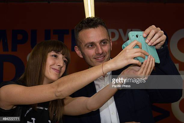 Ghemon is seen taking pictures with his fans during the promotion of his latest album Orchidee at the shopping center 8 Gallery Turin The Italian...