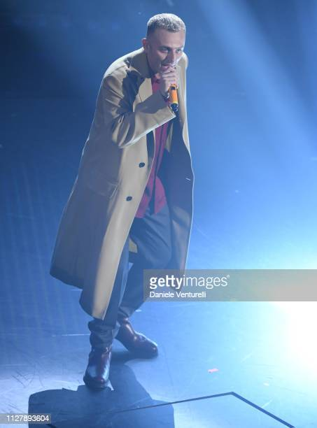 Ghemon on stage during the second night of the 69th Sanremo Music Festival at Teatro Ariston on February 06 2019 in Sanremo Italy