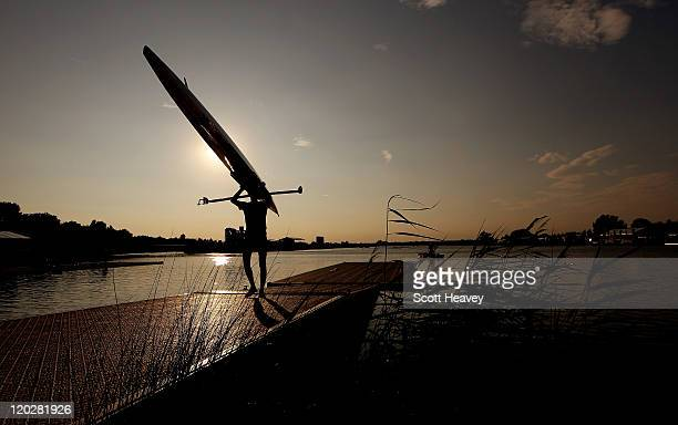 A gheneral view of a competitor after a practice session during Day 1 of the FISA 2011 World Rowing Junior Championships at Eton Dorney on August 3...