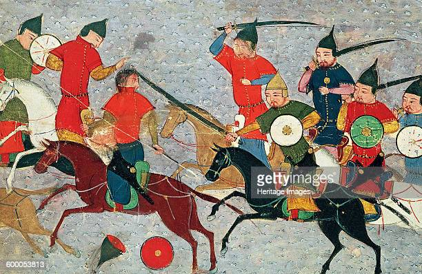 Ghenghis Khan in combat Miniature from Jami' altawarikh ca 1430 Found in the collection of Bibliothèque Nationale de France Artist Anonymous