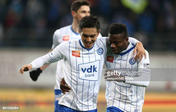 20171209 Ghent Belgium / Kaa Gent v Kv Kortrijk / 'nYuya KUBO Moses SIMON Celebration'nFootball Jupiler Pro League 2017 2018 Matchday 18 / 'nPicture...
