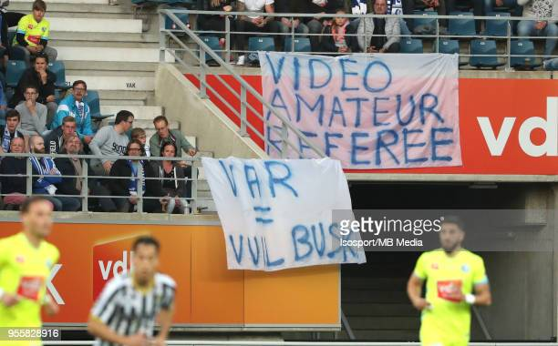 20180504 Ghent Belgium / Kaa Gent v Sporting Charleroi / 'nSupporters Video assistant referee VAR'nFootball Jupiler Pro League 2017 2018 PlayOff 1...