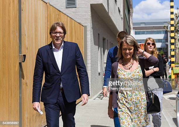 Ghent Belgium May 25 2014 Candidate for the presidency of the European commission of the Alliance of Liberals and Democrats for Europe Guy...