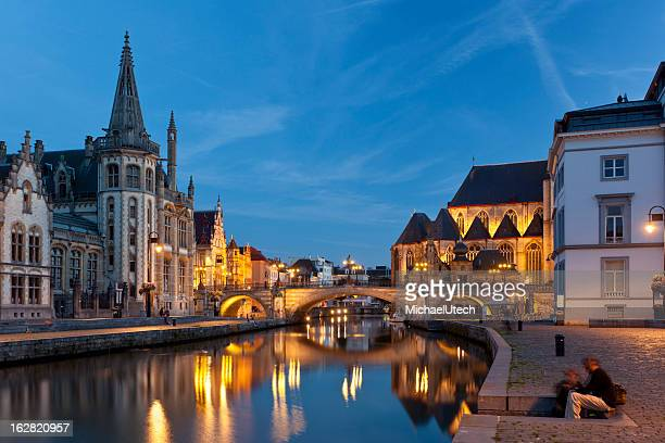Ghent Canal View At Night