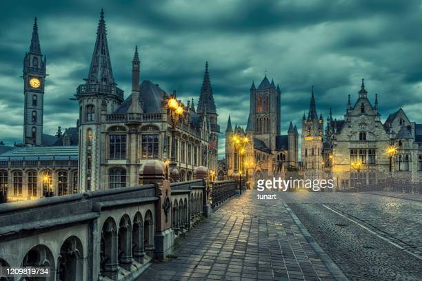 ghent cityscape from st michael's bridge, belgium - gothic stock pictures, royalty-free photos & images