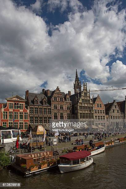 Ghent downtown by leie river at belgium