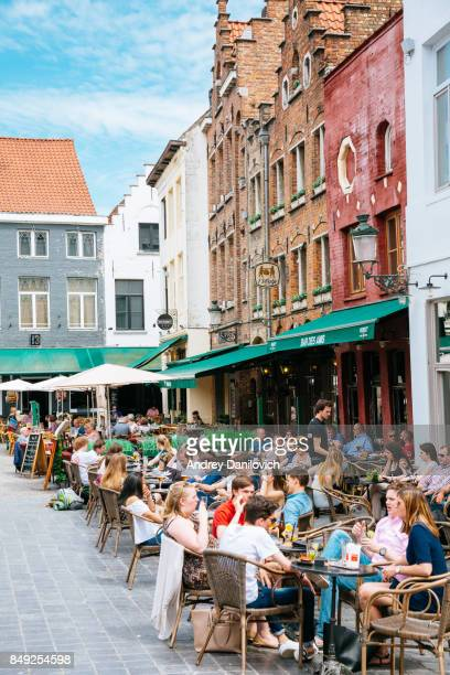 Ghent streets - People chilling in restaurants