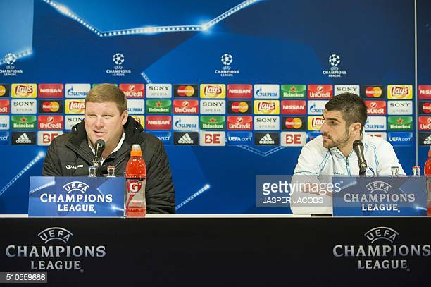 Ghent's Belgian head coach Hein Vanhaezebrouck and Serbian defender Stefan Mitrovic attend a press conference on the eve of their last 16 firstleg...
