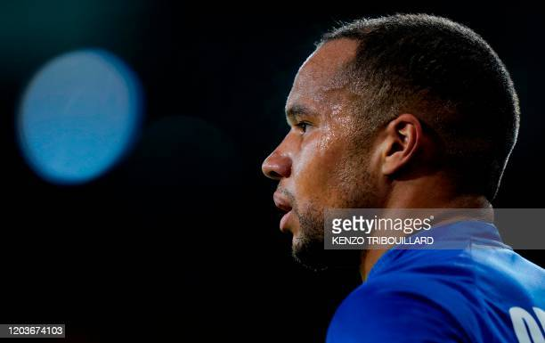 Ghent's Belgian midfielder Vadis Odjidja Ofoe looks on during the UEFA Europa League round of 32 second leg football match between KAA Gent and AS...