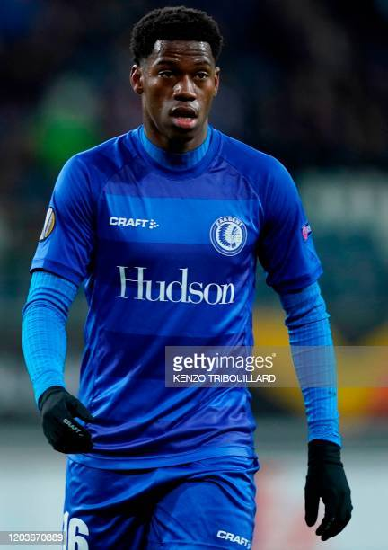 Ghent's Canadian forward Jonathan David looks on during the UEFA Europa League round of 32 second leg football match between KAA Gent and AS Roma on...
