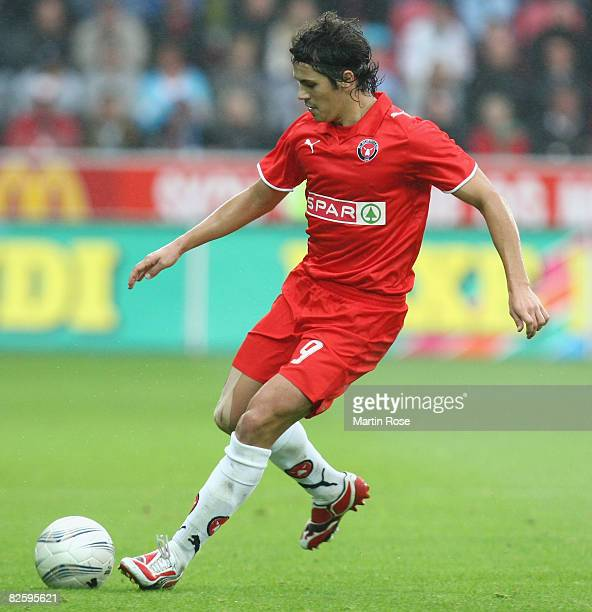Gheorghe Florescu of Midtjylland runs for the ball during the UEFA Cup 2nd qualifying round second leg match between Midtjylland and Manchester City...