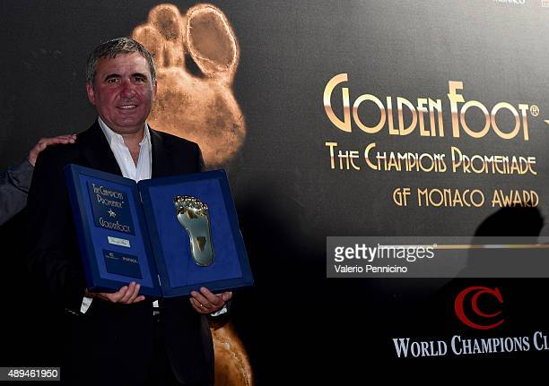 Gheorghe Hagi is awarded during the Golden Foot award ceremony at Fairmont Hotel on September 21 2015 in Monaco Monaco