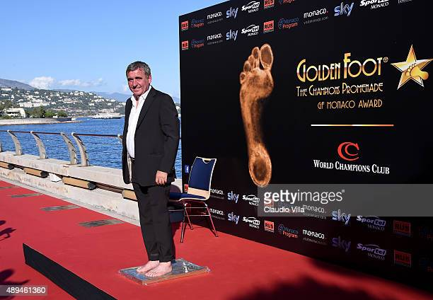 Gheorghe Hagi leaves his footprints during the Golden Foot award ceremony at Fairmont Hotel on September 21 2015 in Monaco Monaco
