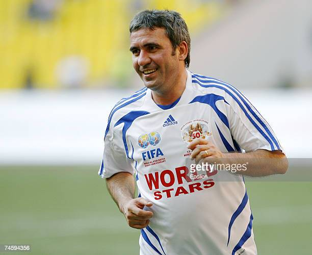Gheorghe Hagi of FIFA World Stars team in action during the 50th Anniversary Rinat Dasaev match between URSS Stars and FIFA World Stars on Juna 13...