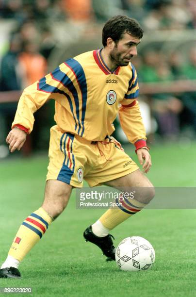 Gheorghe Hagi of Romania in action during the 1998 FIFA World Cup Qualifier between the Republic of Ireland and Romania at Lansdowne Road on October...