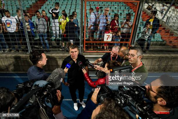 Gheorghe Hagi of Viitorul with supporters and press after the game during the match between Racing FC Union Luxembourg v FC Viitorul Constanta at the...