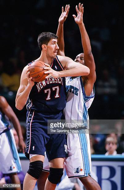 Gheorghe Muresan of the New Jersey Nets during the game against the Charlotte Hornets on November 12 1999 at Continental Airlines Arena in East...