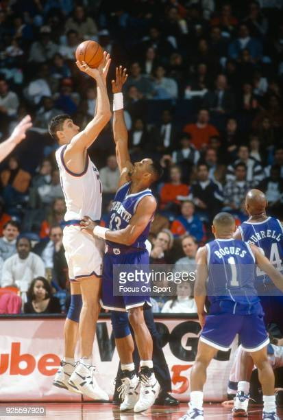 Gheorghe Muresan of the Washington Bullets shoots over Alonzo Mourning of the Charlotte Hornets during an NBA basketball game circa 1995 at the US...