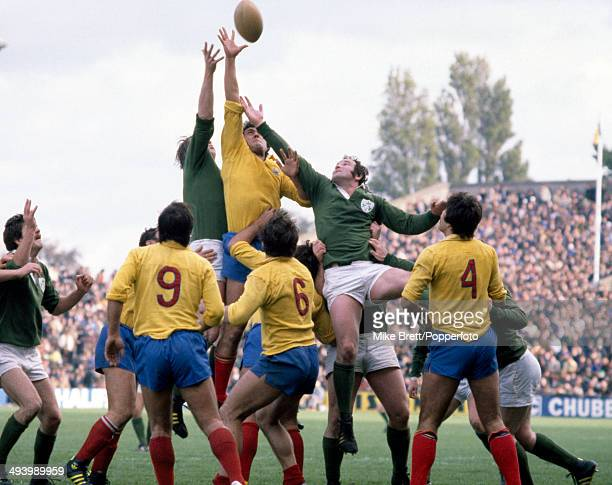 Gheorghie Caragea of Romania wins the lineout during the rugby union International match against Ireland at Lansdowne Road in Dublin on 18th October...