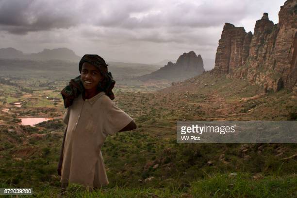 Gheralta mountains near Hawzen Eastern Tigray Ethiopia Trekking in Gheralta To access the churches nestled in the rocks that are at the top of the...