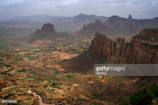 Gheralta mountains near Hawzen Eastern Tigray Ethiopia View from one of the peaks of the surrounding Gheralta mountains In this region of mountains...