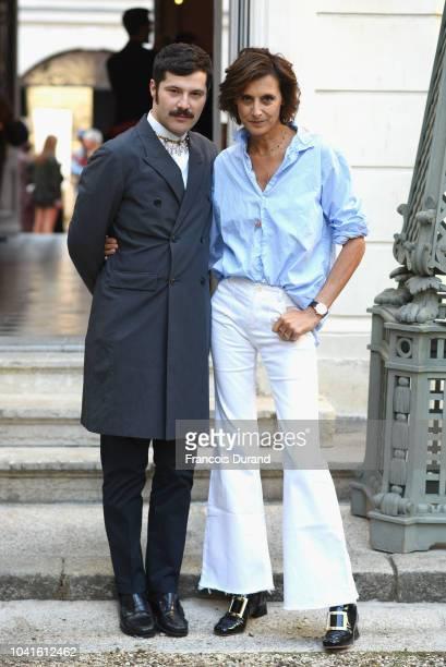 Gherardo Felloni and Ines de la Fressange attend the Roger Vivier Presentation Spring/Summer 2019 during Paris Fashion Week on September 27 2018 in...