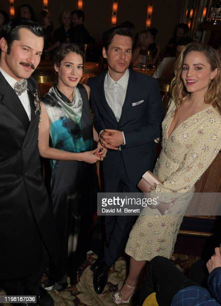 Gherardo Felloni, Lizzy Caplan, Tom Riley and Dianna Agron pose the Netflix BAFTA after party at Chiltern Firehouse on February 2, 2020 in London,...