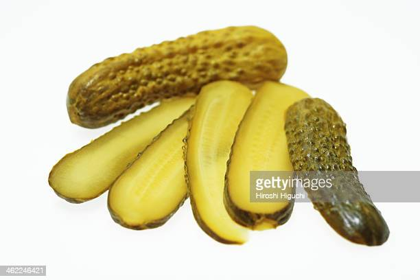 gherkin - sliced pickles stock photos and pictures
